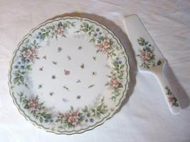 "Andrea by Sadek Cake Plate & Server 10.5"" Diameter Floral & Berry Patter - £12.18 GBP"