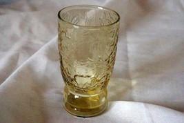 Federal Glass Madrid Amber 5 oz Juice Glass Ripple Base Circa 1939 - $8.99