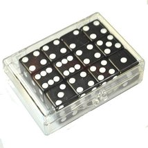 Set of 12 Black Opaque dice in Acrylic Box - White dots - $12.95
