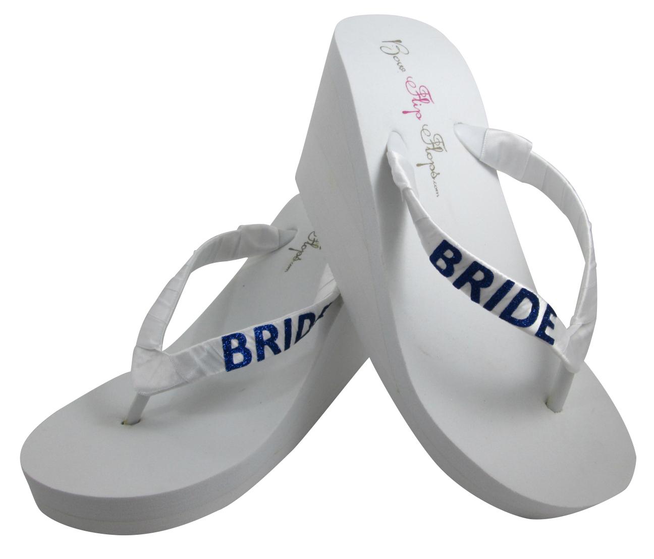 bb8eaf1582674 Royal Blue   White Wedge Flip Flops