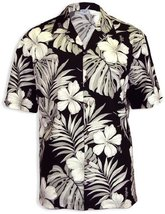 Big Hibiscus White Flower Men Hawaiian Shirt, BLACK, MEDIUM - $39.95
