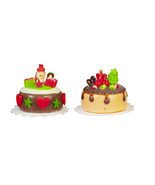 DOLLHOUSE MINIATURES 2PC CHRISTMAS CAKES SET #G7597 - $21.50