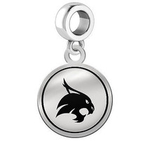 Texas State Bobcats Silver Round Border Dangle Charm - $49.00