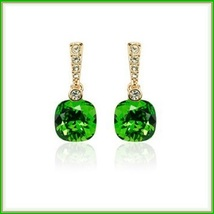 Emerald Cut Dangle Green Austrian Crystal Diamonetts 18K Rose Gold Fill Earrings