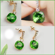 Emerald Cut Dangle Green Austrian Crystal Diamonetts 18K Rose Gold Fill Earrings image 3