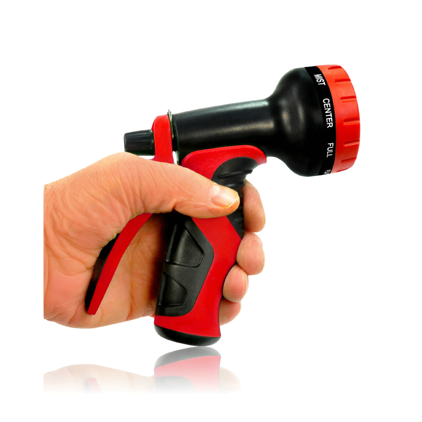Top Rated Garden Hose Nozzle With 9 Adjustable Spray Settings Red Gardening Supplies