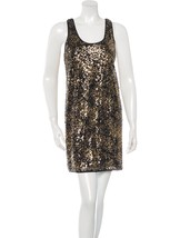 DIANE von FURSTENBERG PELLINA SQUIN BLACK/GOLD TANK DRESS NWT Size 4 - $127.71