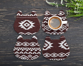 Brown Coasters for Drinks of 4 Animal Coasters Housewarming Gifts Weddin... - $17.00