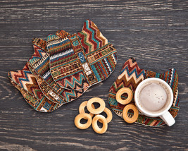 Tribal Coasters for Drinks Brown Animal Coasters Housewarming Gifts Set ... - $17.00