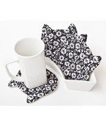 Black Cat Coasters for Drinks Housewarming Gifts Kitchen Decor Set of 4 - $21.23 CAD