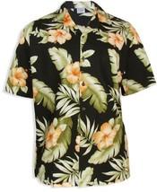 Orange Hibiscus Hawaiian Shirt, BLACK, MEDIUM - $39.95