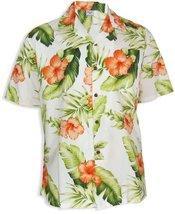 Orange Hibiscus Hawaiian Shirt, WHITE, SMALL - $39.95