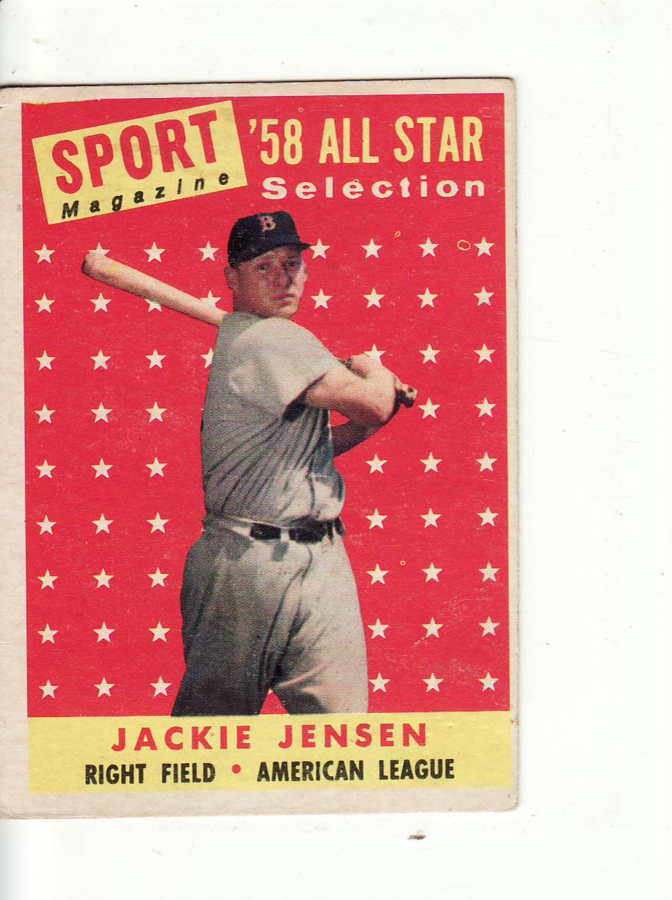 Primary image for  1958 TOPPS BASEBALL CARD#489 JACKIE JENSEN VGEX++ NO CREASES RED SOX STAR