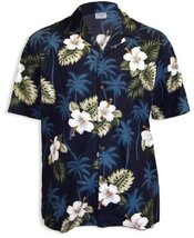 Hibiscus and Palms Island Tropical Shirt, NAVY, SMALL - $39.95