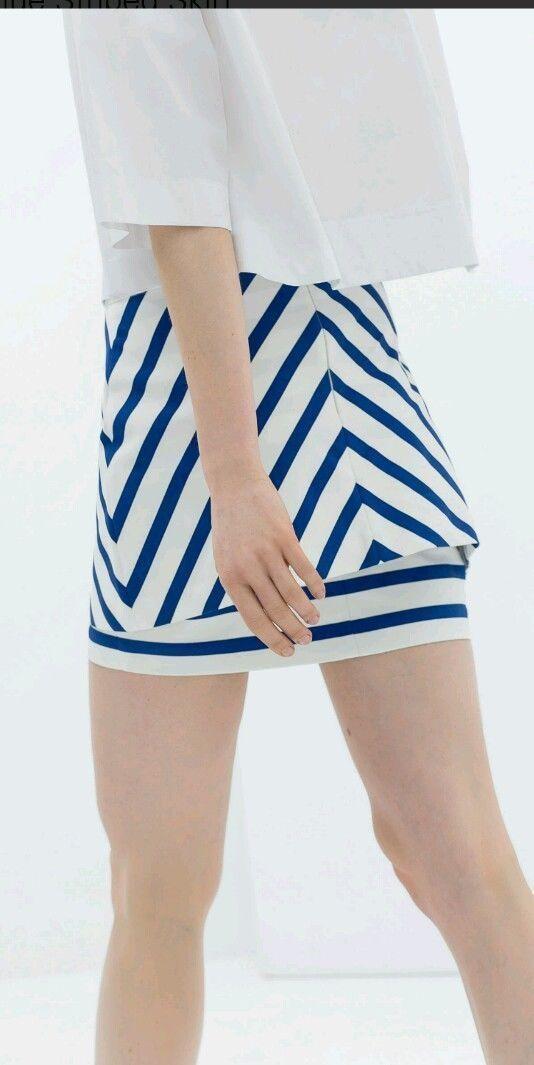 4af57dce93 Zara Trafaluc Sexy Blue & White Striped Mini and 50 similar items