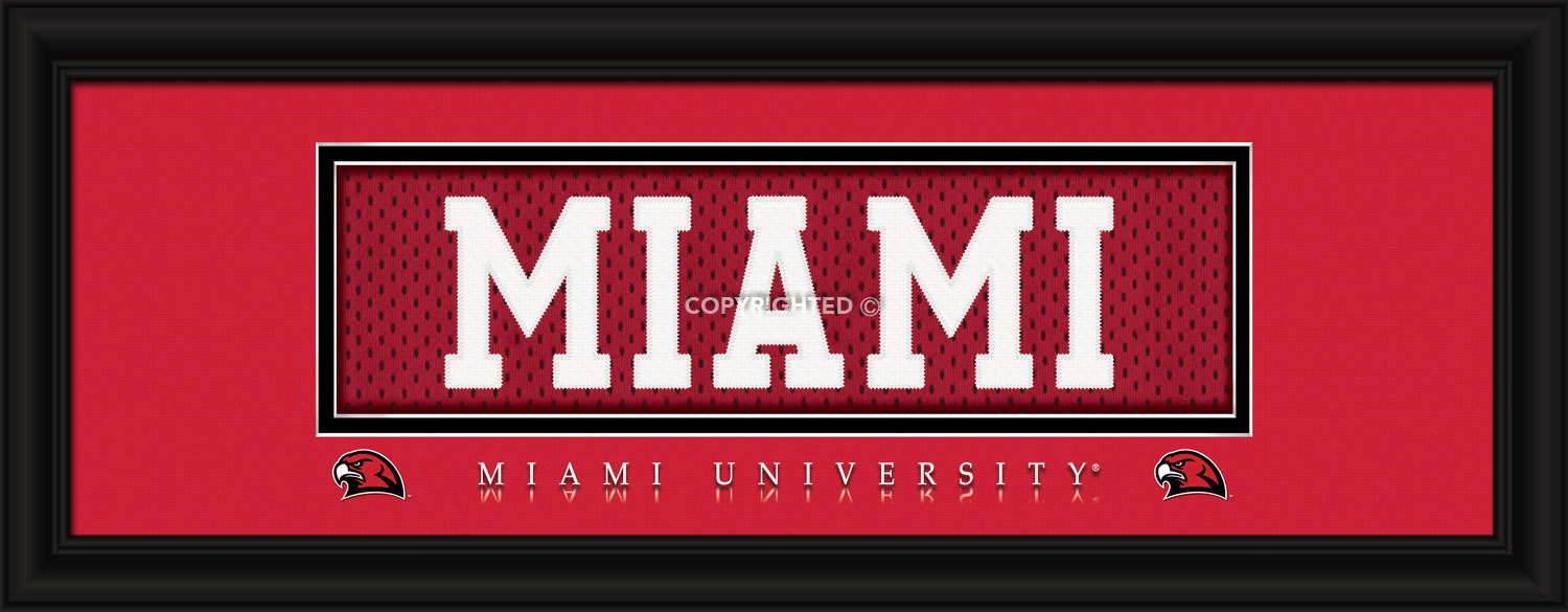 Miami of Ohio Officially Licensed Stitched Jersey Framed Print - 3 Designs