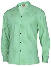 Long Sleeves Beach Palms Hawaiian Shirt, Small, green - $65.00