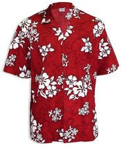 White Hibiscus Classic Aloha Hawaiian Shirt, RED, XL - $39.95