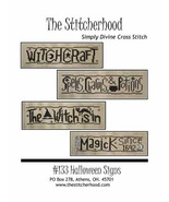 Halloween Signs primitive cross stitch chart The Stitcherhood - $9.00