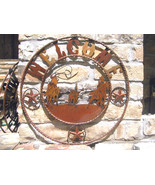 Iron Art Western Horse Roping Welcome Friends Sign 27 inches 1463 bz - $124.98