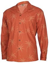 Long Sleeves Beach Palms Hawaiian Shirt, XXL, orange - $69.00