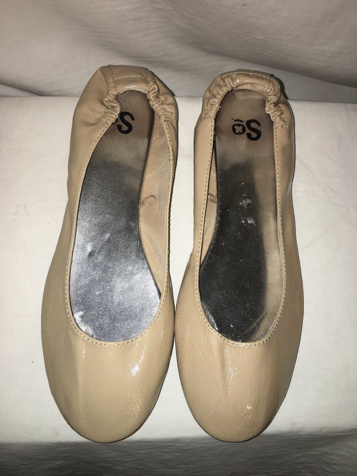 so beige faux patent leather stretch ballet flats