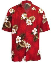 Hibiscus and Palms Island Tropical Shirt, RED, 3XL - $45.95