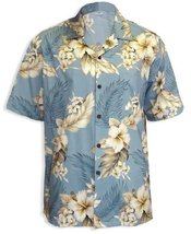 Paradise Hibiscus Island Cotton Hawaiian Shirt, BLUE, LARGE - $39.95