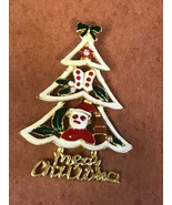 Estate White Enamel w Cut-Out Santa Claus Butterfly Leaves Goldtone Chri... - $16.56