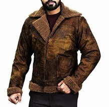 B3 Aviator Pilot Distressed Brown Artificial Fur Shearling Bomber Leather Jacket image 1