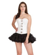 White PVC Leather Halloween Costume Bustier Waist Training Overbust Cors... - $69.29