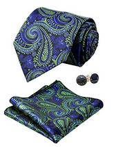 Alizeal Mens Paisley Tie, Pocket Square and Cufflinks Set, Dark Green