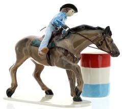 Hagen-Renaker Specialties Ceramic Horse Figurine Rodeo Barrel Racer with Barrel image 2