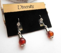 Vintage Diversity Silver Tone Flower Amber Lucite Bead Dangle Earrings N... - $4.94