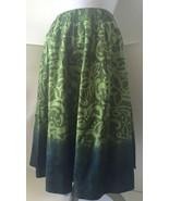 Green Boho Skirt XS Artsy Peasant Elastic Waist Cotton Unique - $9.89