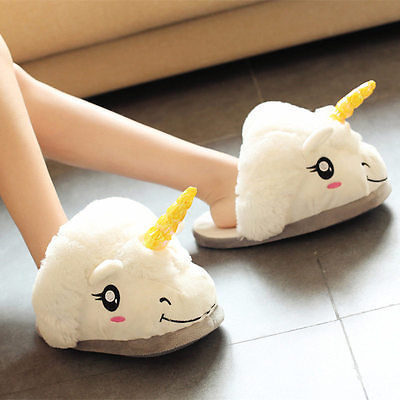 Primary image for Kawaii Clothing Cute Harajuku Unicorn Pony Slippers Shoes Pony White Plush Magic