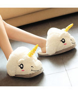 Kawaii Clothing Cute Harajuku Unicorn Pony Slippers Shoes Pony White Plu... - $17.50