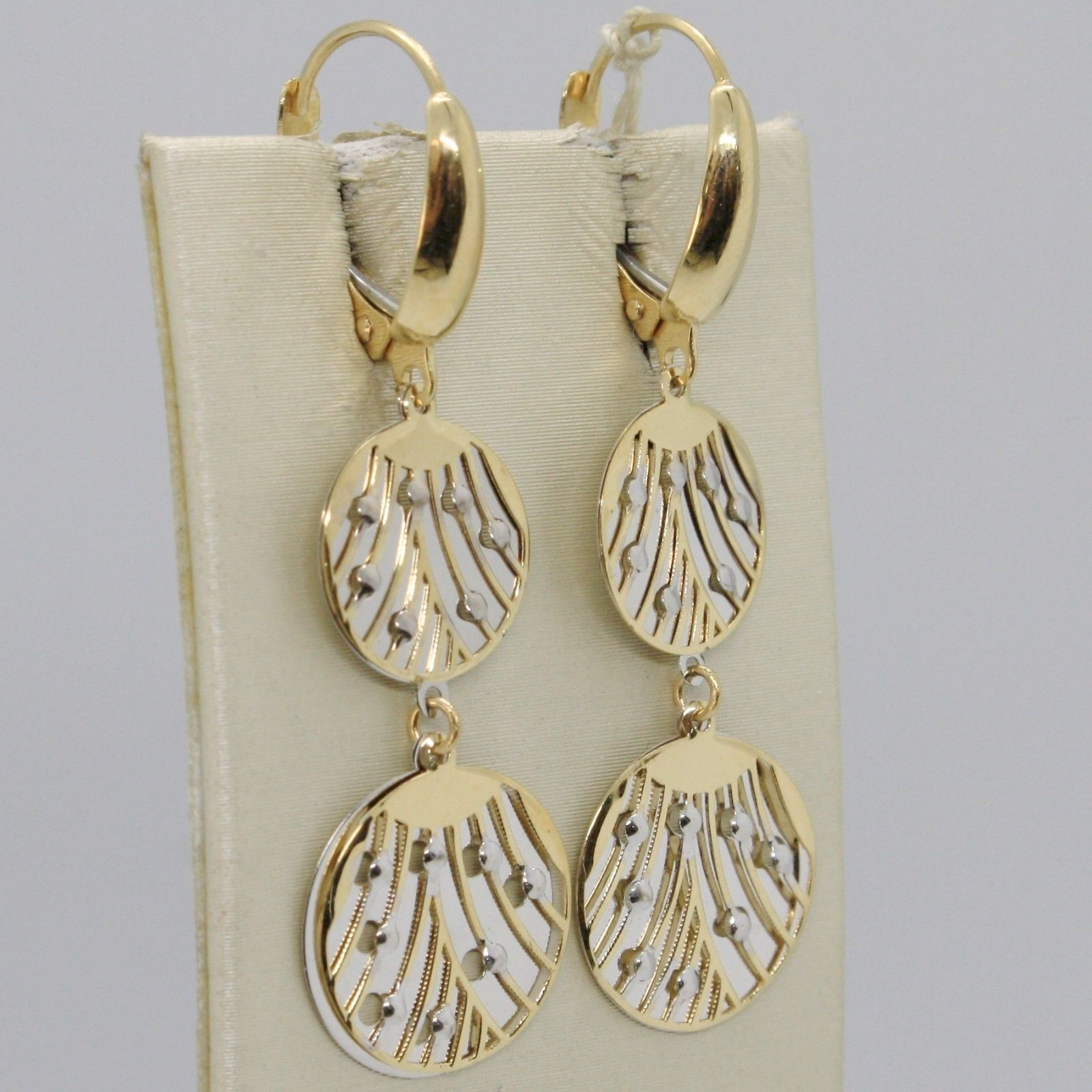 SOLID 18K YELLOW WHITE GOLD PENDANT EARRINGS, DOUBLE WORKED DISC, MADE IN ITALY