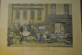 The Blenheim Leaving The Star Hotel, Antique Color Engraving  Oxford 183... - $145.00