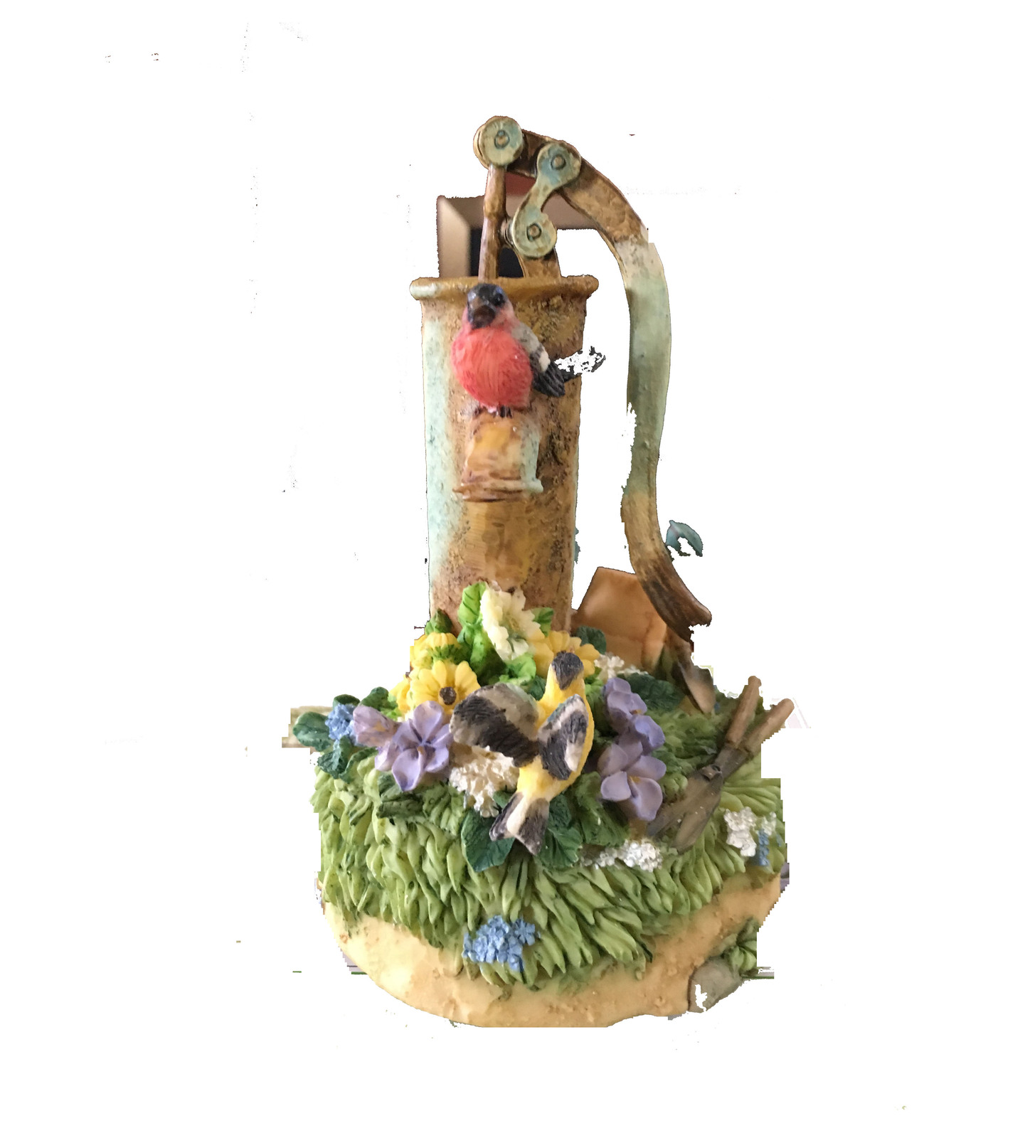 Primary image for DECORATIVE CERAMIC GARDEN MANUAL WATER PUMP, ADORNED WITH ROSES