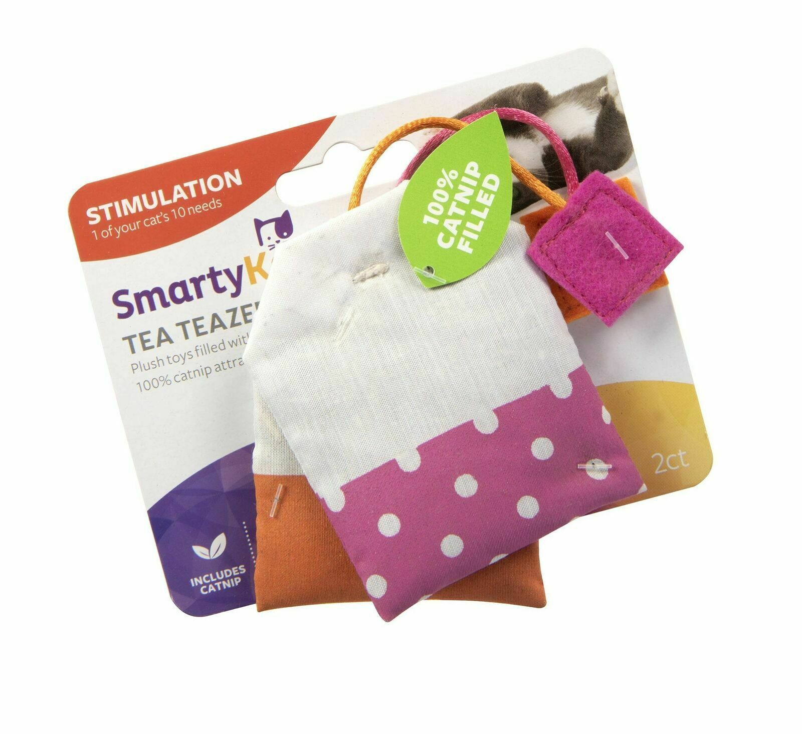 SmartyKat, Tea Teazers, Soft Plush Tea Bags, Cat Toys, Orange & Pink -set of 2