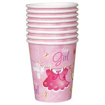 9oz Pink Clothesline Girl Baby Shower Paper Cups, 8ct - $3.22