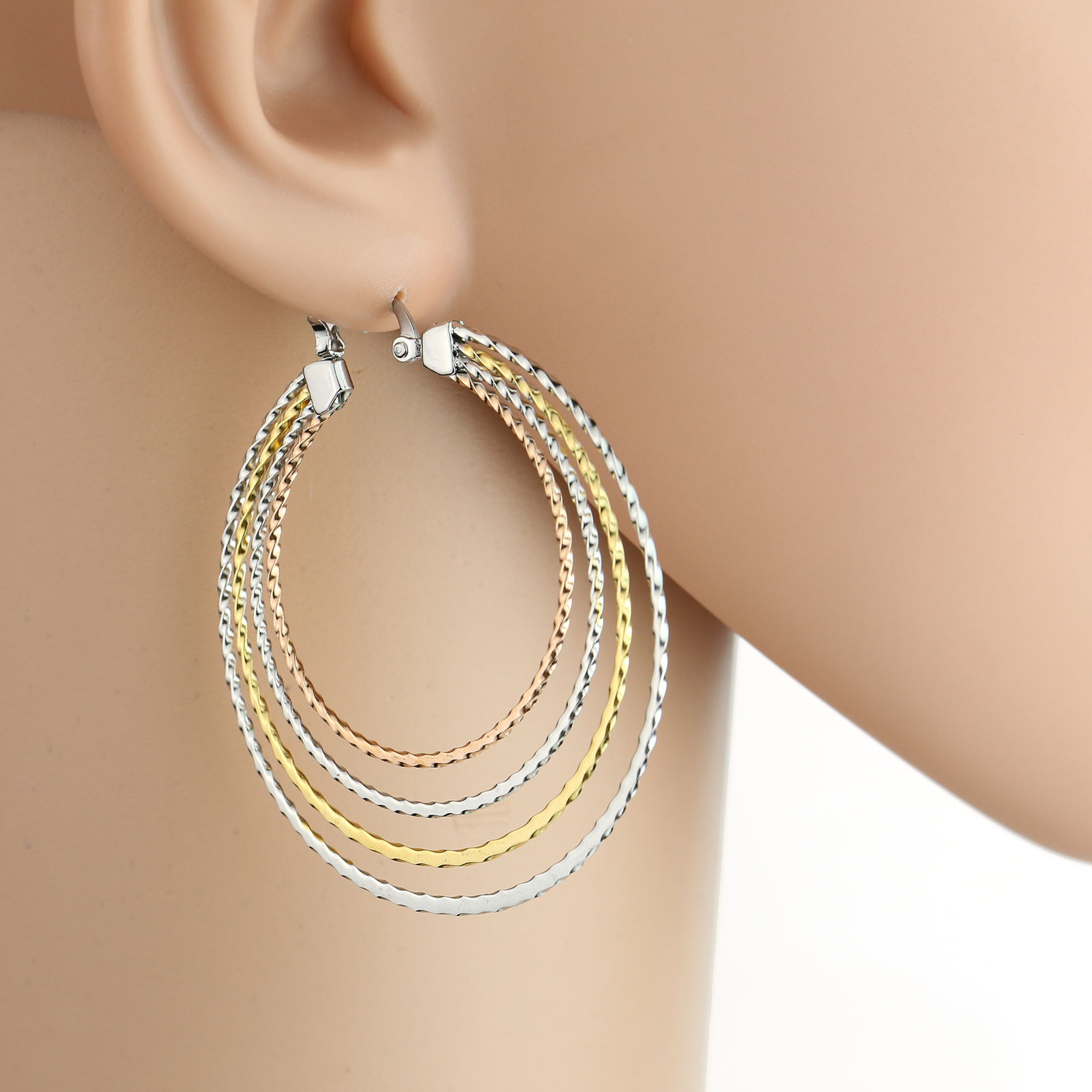 Stylish Large Tri-Color Silver, Gold & Rose Tone Hoop Earrings- United Elegance