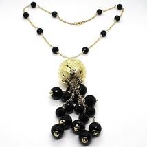 Halskette Silber 925, Gelb, Groß Kugel Strick, Wasserfall Onyx Schwarz image 1