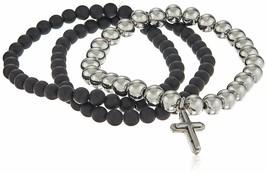 Set of Three Black Lava & Silver Stainless Beaded Holy Cross Charm Bracelets NWT