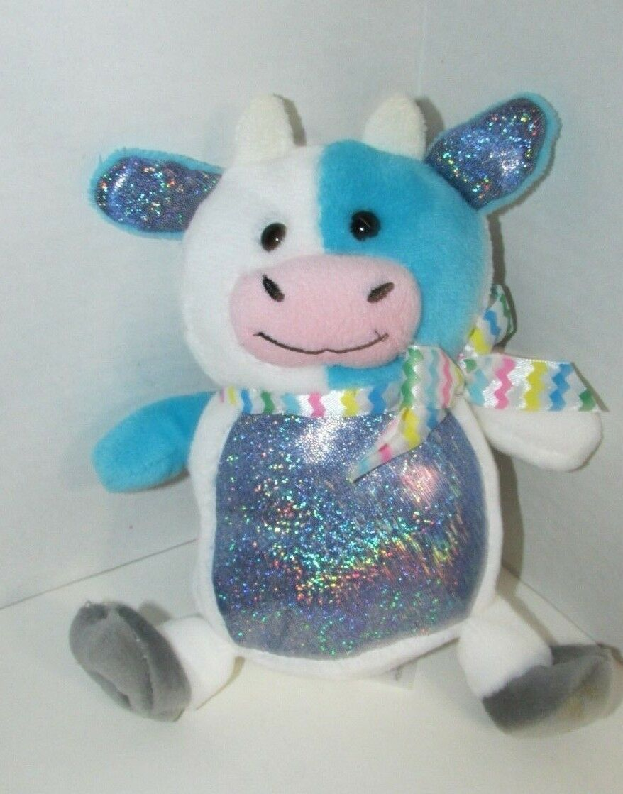 Primary image for Animal Adventure Blue White Plush Cow shimmery sparkle tummy colorful bow 2018