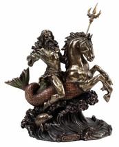 Poseidon on Hippocampus Horse GREEK MYTHOLOGY God of Sea Statue Bronze C... - $65.03