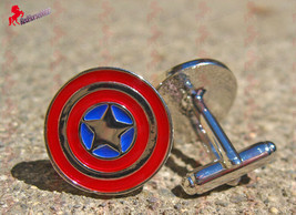 Captain America Superhero Cufflinks – Wedding, Father's Day, Birthday Gift - $3.95