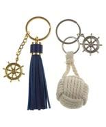 Nautical Theme Ships Wheel Tassel Rope Ball Set of 2 Keychains Key Ring ... - $4.69