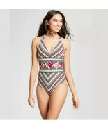 Mossimo Womens Strappy Back One Piece Swimsuit S Multi Stripe - $15.84
